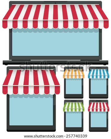 generic mobile phone, touch pad and laptop with shop front awning, isolated on white with copy space - stock vector