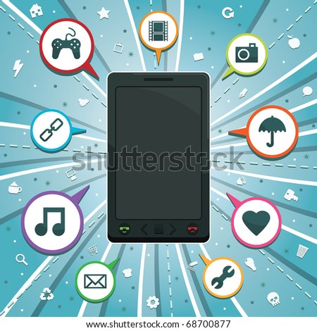 generic mobile smart phone with icons on blue background