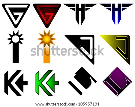 Generic set of letters a through f in superhero or sports team graphic treatment - stock vector