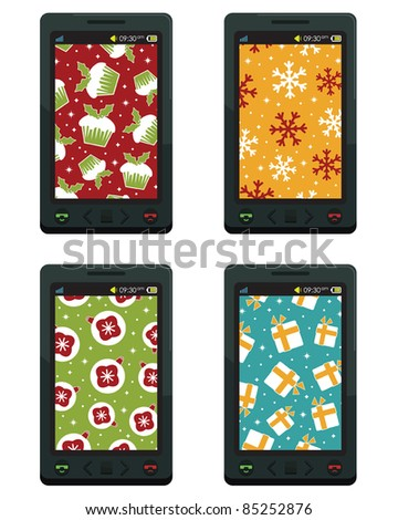 generic smart phones with christmas patterns, isolated on white