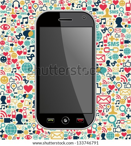 Generic smartphone on color icons background. Vector file layered for easy manipulation and customisation. - stock vector