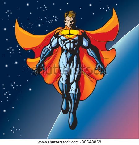 Generic superhero figure floating above a planet. - stock vector