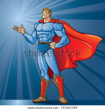 Generic superhero figure standing with open hand.  Layered & easy to edit. See portfolio for similar images. Place your logo! - stock vector