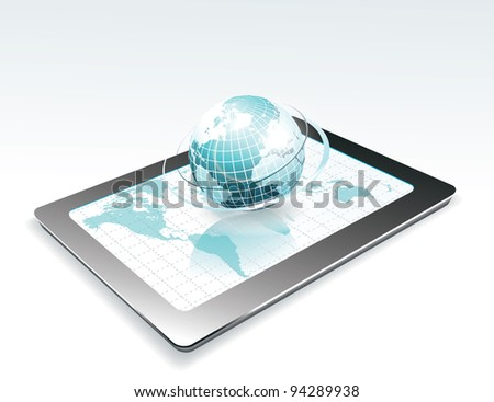 Generic tablet PC with globe - stock vector