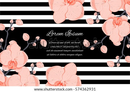 generic template of an invitation (wedding, birthday, anniversary or similar), cover page, poster, banner, business card design with orchids and your text message; conspicuous, vector  illustration