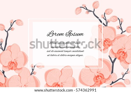 generic template of an invitation (wedding, birthday, anniversary or similar event), cover page, flyer, poster, banner, business card design with orchids and your text message; vector illustration