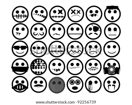 Generic Urban Faces. 30 generic urban faces in black and white. Can be used for emoticon or avatar. - stock vector