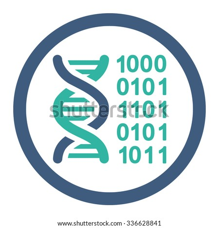 Genetic Code vector icon. Style is bicolor flat rounded symbol, cobalt and cyan colors, rounded angles, white background.