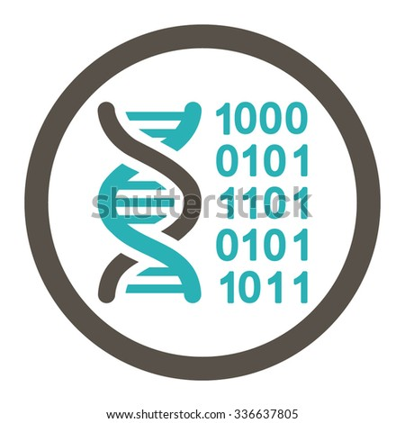 Genetic Code vector icon. Style is bicolor flat rounded symbol, grey and cyan colors, rounded angles, white background.
