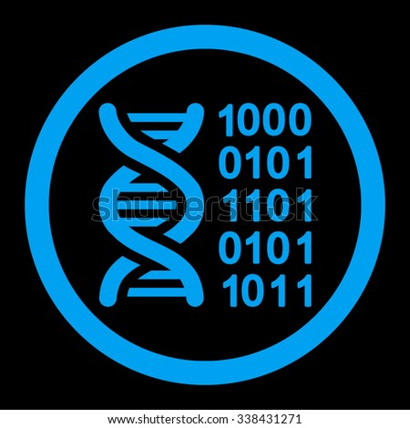 Genetic Code vector icon. Style is flat rounded symbol, blue color, rounded angles, black background.