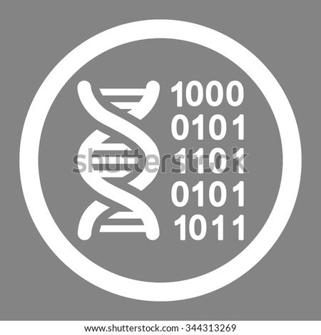 Genetic Code vector icon. Style is flat rounded symbol, white color, rounded angles, gray background.