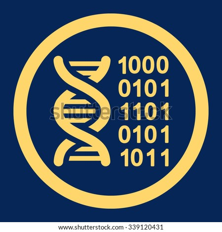 Genetic Code vector icon. Style is flat rounded symbol, yellow color, rounded angles, blue background.