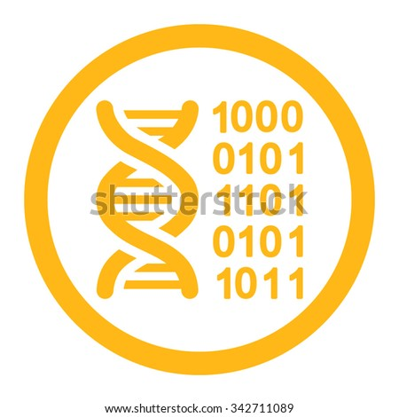 Genetic Code vector icon. Style is flat rounded symbol, yellow color, rounded angles, white background.