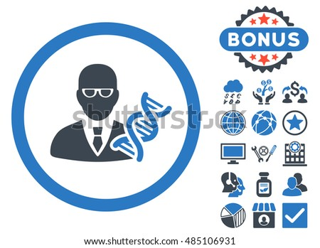 Genetic Engineer icon with bonus pictogram. Vector illustration style is flat iconic bicolor symbols, smooth blue colors, white background.