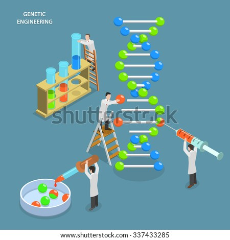 Genetic engineering isometric flat vector concept. Scientists in laboratory are changing DNA structure. Medical, biological, molecular research. - stock vector