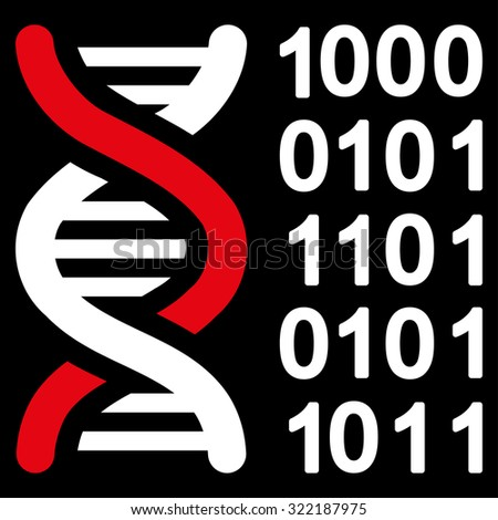 Genetical Code vector icon. Style is bicolor flat symbol, red and white colors, rounded angles, black background. - stock vector