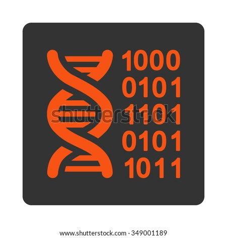 Genetical Code vector icon. Style is flat rounded square button, orange and gray colors, white background.