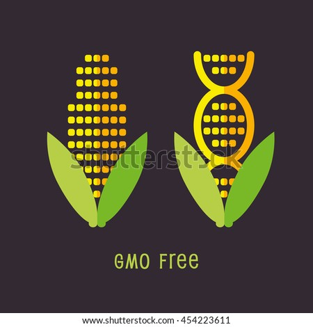 Genetically Modified Organisms GMO FREE symbol emblem icon vector illustration  - stock vector