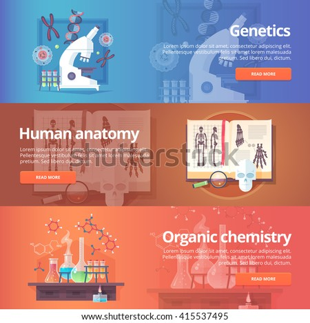 Genetics. Human genome. Human anatomy. Anatomical atlas. Organic chemistry. Biochemistry. Chemical laboratory. Science of life. Education and science banners set. Vector design concept. - stock vector