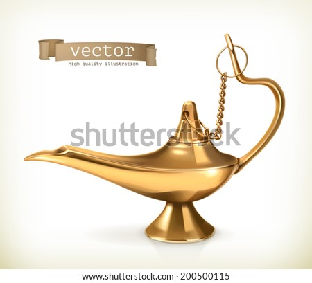 Genie lamp, vector illustration - stock vector