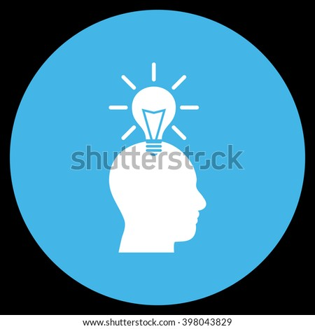 Genius Bulb vector icon. Image style is a flat icon symbol on a round button, blue and white colors, black background. - stock vector