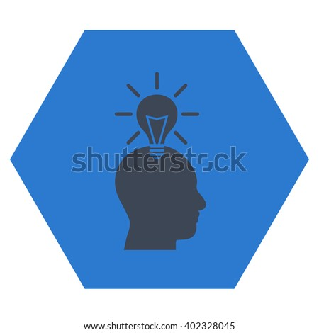 Genius Bulb vector icon. Image style is bicolor flat genius bulb icon symbol drawn on a hexagon with smooth blue colors. - stock vector