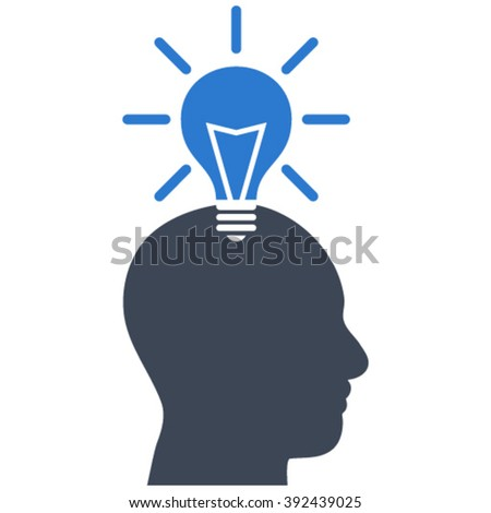 Genius Bulb vector icon. Image style is bicolor flat genius bulb pictogram drawn with smooth blue colors on a white background. - stock vector