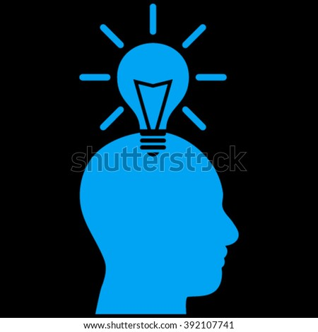 Genius Bulb vector icon. Image style is flat genius bulb pictogram symbol drawn with blue color on a black background.