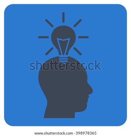 Genius Bulb vector icon symbol. Image style is bicolor flat genius bulb iconic symbol drawn on a rounded square with smooth blue colors. - stock vector