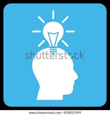 Genius Bulb vector symbol. Image style is bicolor flat genius bulb icon symbol drawn on a rounded square with blue and white colors. - stock vector