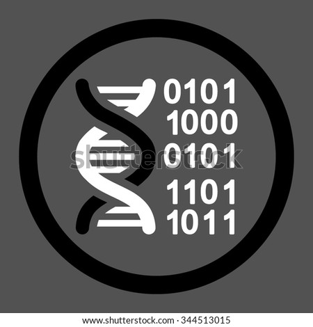 Genome Code vector icon. Style is bicolor flat rounded symbol, black and white colors, rounded angles, gray background.
