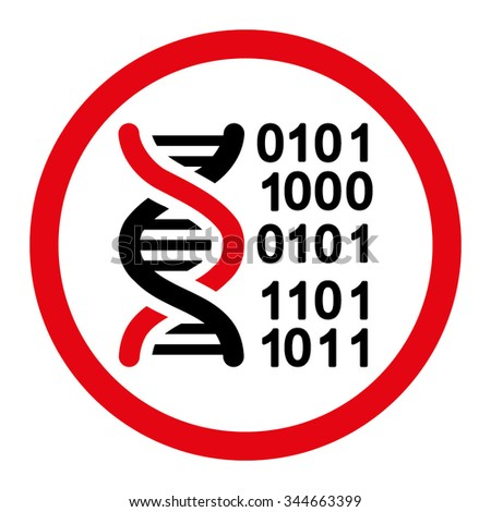 Genome Code vector icon. Style is bicolor flat rounded symbol, intensive red and black colors, rounded angles, white background.