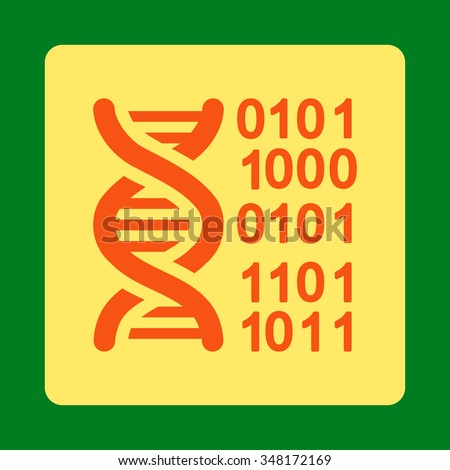 Genome Code vector icon. Style is flat rounded square button, orange and yellow colors, green background.