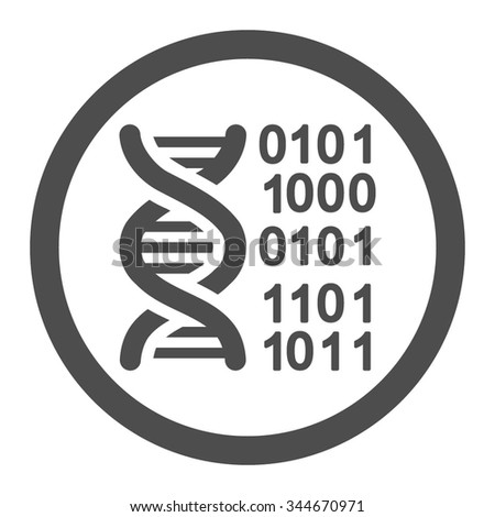 Genome Code vector icon. Style is flat rounded symbol, gray color, rounded angles, white background.