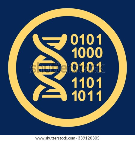 Genome Code vector icon. Style is flat rounded symbol, yellow color, rounded angles, blue background.