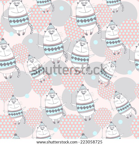 Gentle cartoon background with cute cats with balloons.Seamless pattern. - stock vector