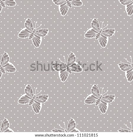 Gentle elegant dotted lace seamless vector pattern - stock vector