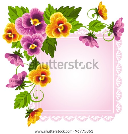 Gentle floral background with pansy. Flowers and leaves drawn with no gradients. - stock vector