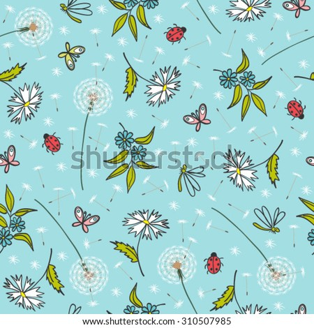 gentle floral pattern with dandelions - stock vector