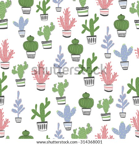 Gentle floral seamless pattern in bright colors. Cactus pattern exotic. - stock vector