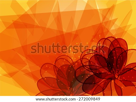 gentle frame with orange flowers. Template for your design with geometry effect - stock vector