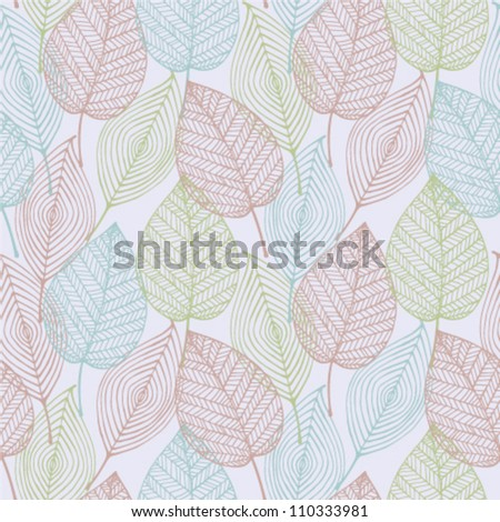Gentle light abstract seamless stylized pattern with ornamental colorful light lleaves. Seamless decorative template leaf texture - stock vector