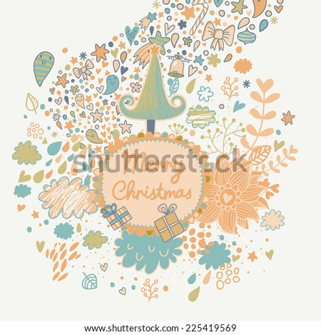 Gentle Merry Christmas card with tree, stars, clouds, gifts and flowers. Vector holiday background. Happy New Year invitation card design - stock vector