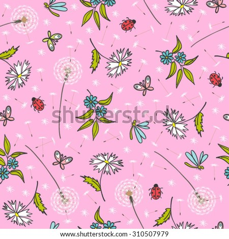 gentle pink floral pattern with dandelions - stock vector