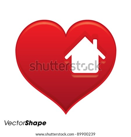 Gentle red heart with house shape inside vector illustration