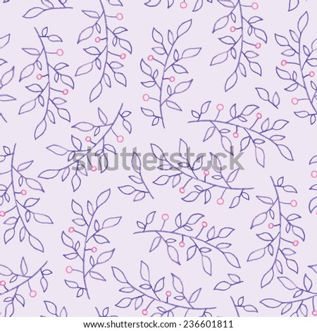 Gentle seamless pattern of purple leaves and pink flowers - watercolor vector - stock vector