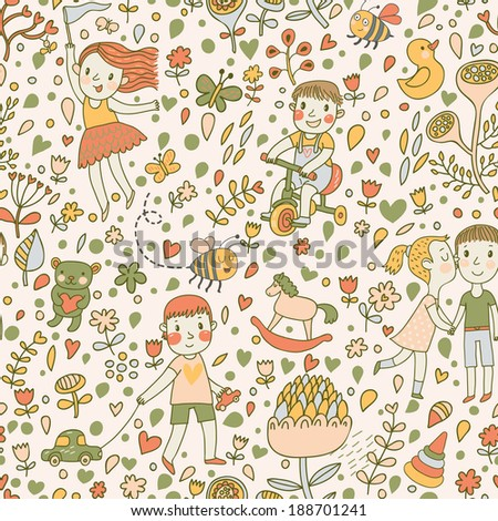 Gentle seamless pattern with children in the garden. Playing kids with toys. Vector background with cartoon boys and girls with flowers. - stock vector