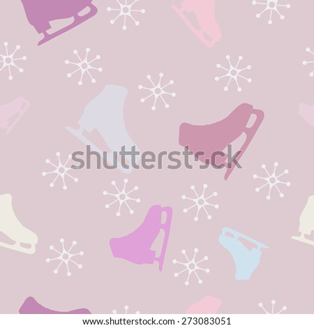Gentle seamless pattern with skates  - stock vector
