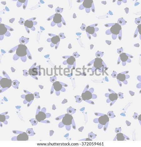 Gentle seamless pattern with Teddy bears, buds and flowers. Nice quiet background with toys for kids. - stock vector