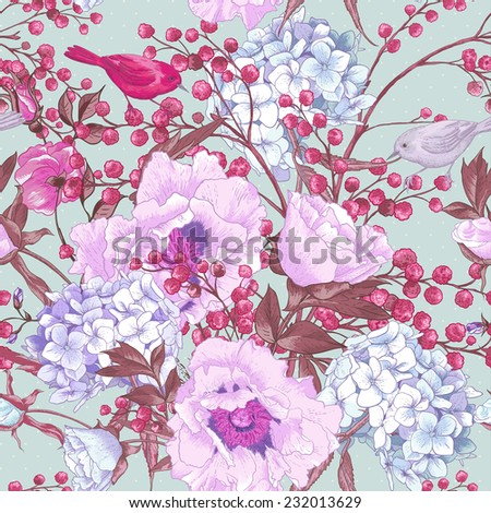 Gentle Spring Seamless Background, Floral Bouquet with Birds, Vintage Greeting Card, Vector illustration. Peonies, Mimosa, Roses, Hydrangea  - stock vector
